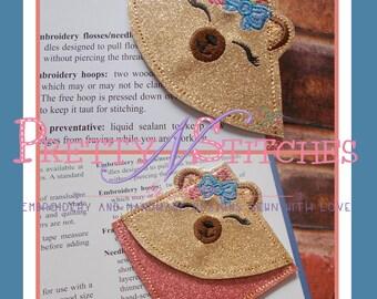 Digital Download IntheHoop Bear Face Book Corner Applique Embroidery Design for 4X4 hoop
