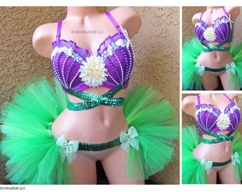 Ariel Little Mermaid Rave Outfit -Bra and Half TuTu, Bustle, Mermaid Rave Costume