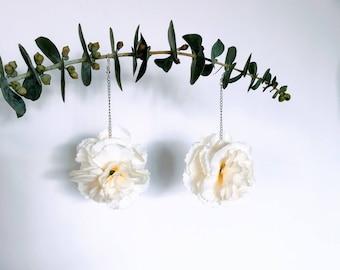 White Carnations - Drop Earrings