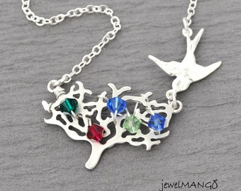 Family tree Necklace, bird charm, silver tree with birthstones, woodland,  Personalized birthstone necklace mother necklace, gift for mom