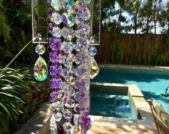 Crystal Sun Catcher Purple Sun Prism Crystal Wind Chimes Rainbow Light Catcher