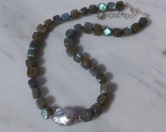 Labradorite and Grey Pearl Necklace