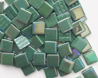 "12mm (1/2"") Spruce Green Pearlized Recycled Glass Square Mosaic Tiles//Mosaic Supplies//Craft Supplies"