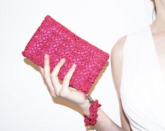 Bridesmaid Clutch Purse, Pink Bridal Shower Gift, Hands Free Clutch Bag, Lace Bridesmaid Purse, Bridesmaid Gift, Wedding Make Up Purse Bag