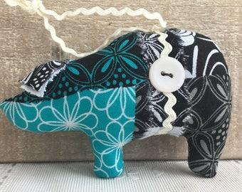 Blue/Black/White pig ornament, animal ornaments, novelty ornaments, pig decor, shabby cottage ornaments, cottage chic pig
