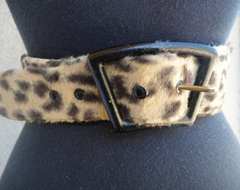 Faux Fur Animal Print Belt