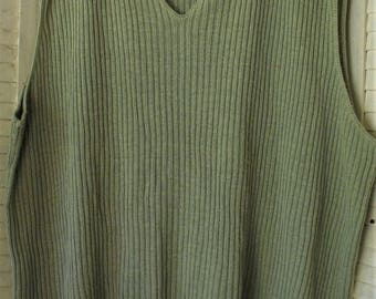 Sweater Top/ Sage Knit Pullover/ Oversize Top/ Thrifted Sweater/ Size 26-28/ Shabbyfab Funwear