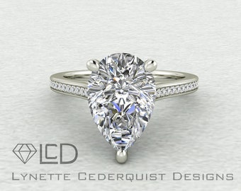 The Bethany 3.5 carat Pear Cut NEO Moissanite and Diamond Accented  Engagement Ring