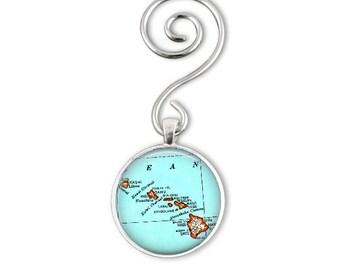 Custom Hawaiian Christmas Ornament, Hawaii map ornament, Anniversary Gift, Boyfriend Gift, Travel Gift of your favorite location