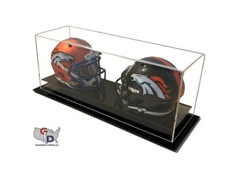 Acrylic Desk or Counter Top Double Mini Helmet Display Case by GameDay Display