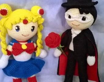 Tuxedo and Sailor Moon crochet pattern