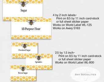 Bee Pantry Labels | Hive Labels | Organizing Labels | Editable Labels | Tags | Editable PDF | Instant Download