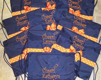 CHEER Cinch Bag Backpack  Cheerleader preppy tote colors