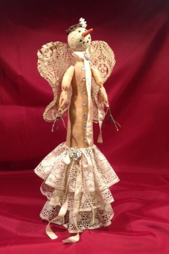 "Iclynn - Cloth Doll E-Pattern 18"" Lace Primitive Snowman Girl Free Standing Stump doll"