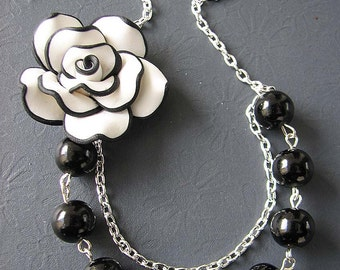 Black and White Jewelry Black Pearl Necklace Flower Necklace Black Jewelry Beaded Necklace Bib Necklace
