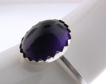 Amethyst Ring, February Birthstone Ring, Purple Stone Ring, Purple Jewel Ring, Statement Ring, Solitaire Ring, Sterling Silver Ring, Violet