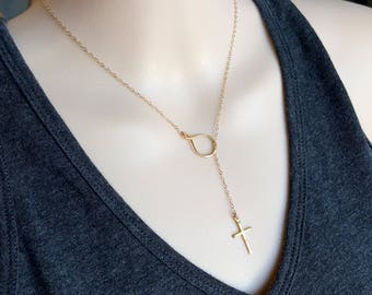 Elegant Gold Filled Cross Lariat & Y necklace with Eternity Cluster, Baptism, Christmas, mother's day, birthday gift for her, for wife, mom