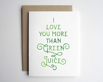 PRINTABLE Valentine Card Him, Valentines Day Card for Her, I Love You More Than Green Juice Card for Boyfriend Husband Girlfriend Wife Vegan