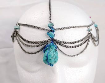 Turquoise Healing Crystal Crown • Headband • Headpiece • Chakra • Stone • Spiritual • Festival •