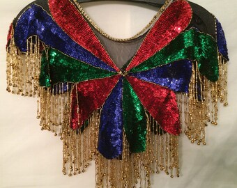 Black Collar with Colorful Sequins #568