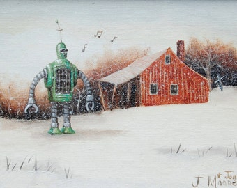 """4"""" by 6"""" postcard print, """"Whistling Snow Bot"""" Altered Thrift Store Art"""