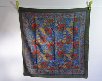 "Vintage Retro Scarf Green & Blue Red Floral 75cm x 77cm / 29.5"" x 30.3"""