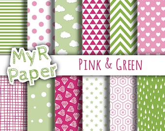 "Digital Paper Pack: ""Pink & Green"" dots, clouds, triangles, chevron, hearts, stars, drops, confetti, diamonds, hexagons."