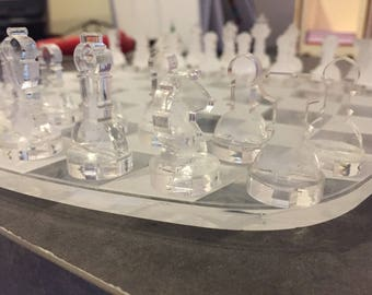 Games chess perspex has laser cutting