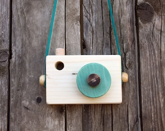 Wooden Camera|Azure camera toy/ Blue-green/Pretend play, Role play, Waldorf toys, Toddler toy, Toddler gift, Handmade Toy, Toddler gift,