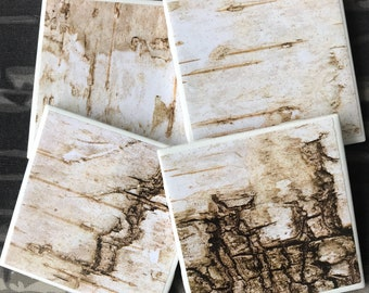 Distressed, Birchbark Wood Rustic, Washed Shabby Chic Looking Set of Drink Coasters Great Gift Idea!