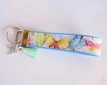 Butterfly Key Fob - Butterfly Key Chain - Butterfly Wristlet - Pastel Butterfly Key Chain - Gifts For Her - Butterfly Collector Gift