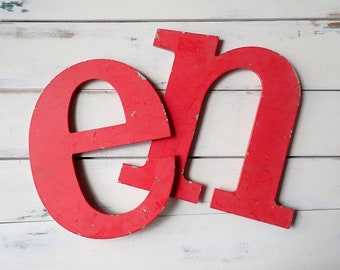 Salvaged metal letters, Letter N, Letter E, Industrial sign letters, Initials, Rustic metal letters, Red metal letter, Wedding props