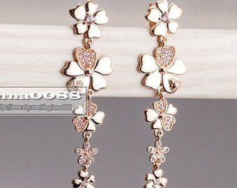 2018 Spring Release Rose™ Rose Gold Wildflower Meadow Drop Earrings With CZ Dangles Earrings