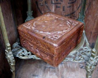Wooden Box, Wood Box, Vintage Wood Box, Square Box, Wood Jewelry Box, Wood Trinket Box, Keepsake Box, Hand Carved, Carved Box, Gift Box