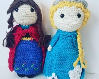 Crochet Anna and Elsa, crochet Elsa doll, crochet Anna doll, frozen dolls, crochet frozen dolls, crochet snow queen