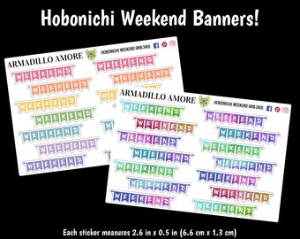 349 | Hobonichi Cousin Weekend Banners {14 Fancy Matte or Glossy Planner Stickers}