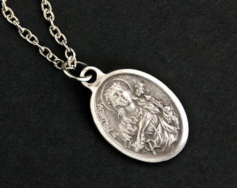 Saint Philomena Necklace. Christian Necklace. St Philomena Medal Necklace. Patron Saint Necklace. Catholic Jewelry. Religious Necklace.