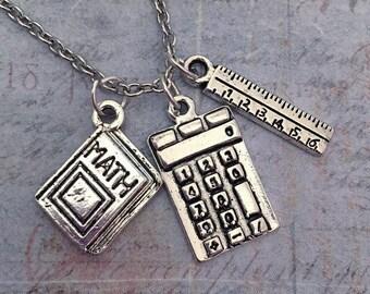 Math Necklace - Teacher Jewelry - Math Jewelry - Education Jewelry - School Jewelry - Math Lover Jewelry - I Love Math Necklace -Mathematics