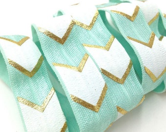 Ribbon width 15mm Mint green Chevron elastic white gold