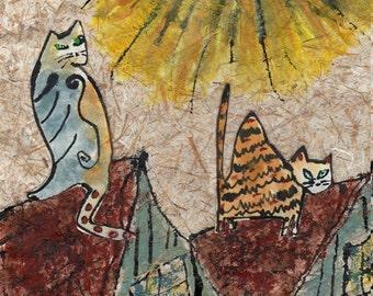 Cat Art Print - Rooftop Cats