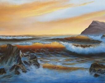 Original Ocean Painting Seascape Painting Ocean Art Nautical Wall Decor Sunrise Painting Original Oil Painting Canvas Ocean Waves Paintings