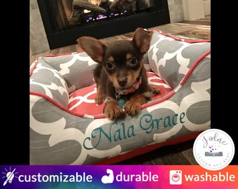 Personalised Dog Bed | Coral, Grey, Name Embroidery, Monogrammed | Quatrefoil, Girly, Feminine, Cute & Classy!