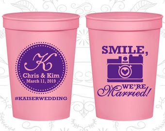 Wedding Cups, Plastic Cups, Stadium Cups, Personalized Cups, Plastic Wedding Cups, Wedding Favor Cups, Monogram Cups (C359)