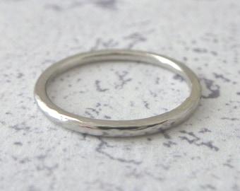 Platinum Wedding Ring - Hammered or Smooth - Platinum Band Ring