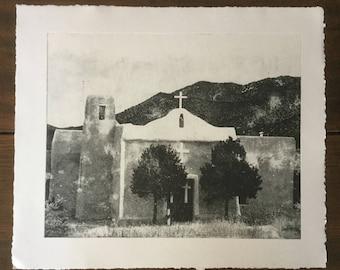 Southwest Art, Etching, Old Adobe Church Etching, New Mexico Art, New Mexico, Etching, Church at Golden New Mexico, photo etching, Church