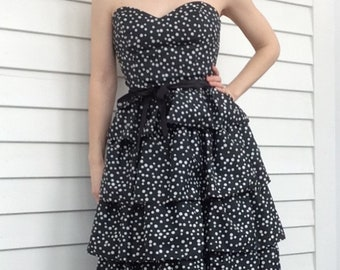 80s Strapless Gown Polka Dot Dress Black White Tiered Party Prom XS