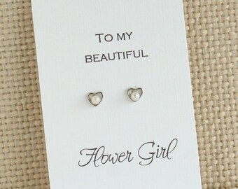 To my Beautiful Flower Girl Heart Earrings | Tiny Open Heart Stud Earrings with Pearl