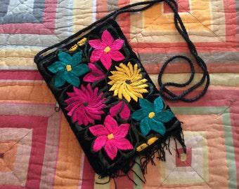 Guatemalan Flower Crossbody Purse