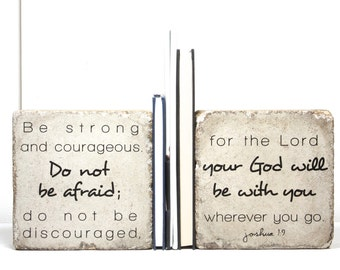 Scripture Bookends/ Concrete Bookends/ Joshua 1:9 / Be strong and courageous/  Stone Book End. Book Ends/ Outdoor Decor/ Concrete Bookends