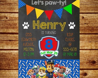 Paw Patrol invitation, digital invitation, printable invite, birthday, party